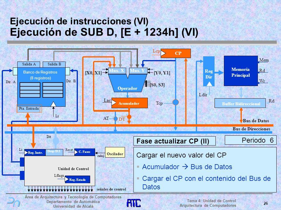 Ejecución de instrucciones (VI) Ejecución de SUB D, [E + 1234h] (VI)